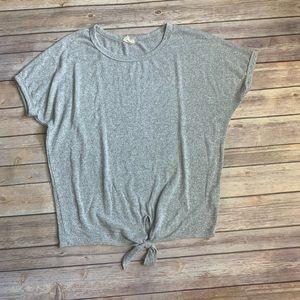 Anthropologie Grey Short Sleeve Tie Front Top